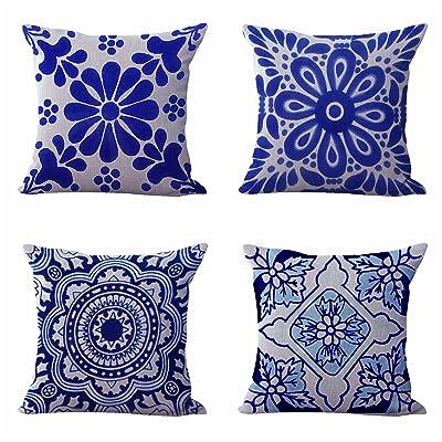 WholesaleSarong Set of 4 Cushion Covers Mexican Spanish Talavera Living Room Decorative Pillows : Garden & Outdoor