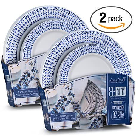 Laura Stein Designer Tableware Midnight Blue Series Hot St& Combo Plastic Disposable Wedding Plates u0026 Party  sc 1 st  Amazon.com & Amazon.com: Laura Stein Designer Tableware Midnight Blue Series Hot ...
