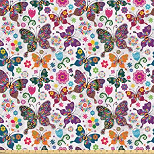 Ambesonne Butterfly Fabric by The Yard, Sixties and Seventies Inspired Complex Image with Floral Elements and Butterflies, Stretch Knit Fabric for Clothing Sewing and Arts Crafts, 2 Yards, Pink