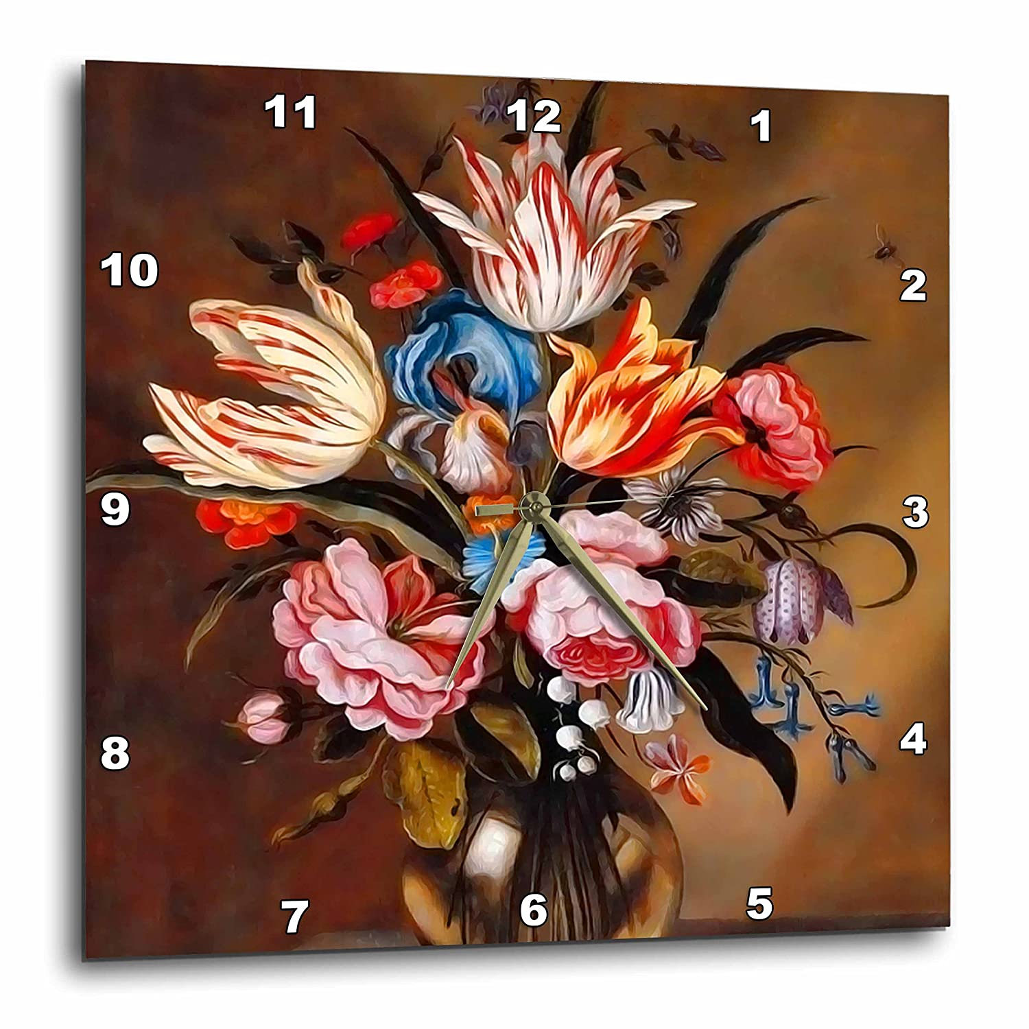 15 by 15-Inch 3dRose DPP/_79449/_3 Vintage Flowers in A Vase by Dutch Artist Abraham Bosschaert from 1632-Wall Clock
