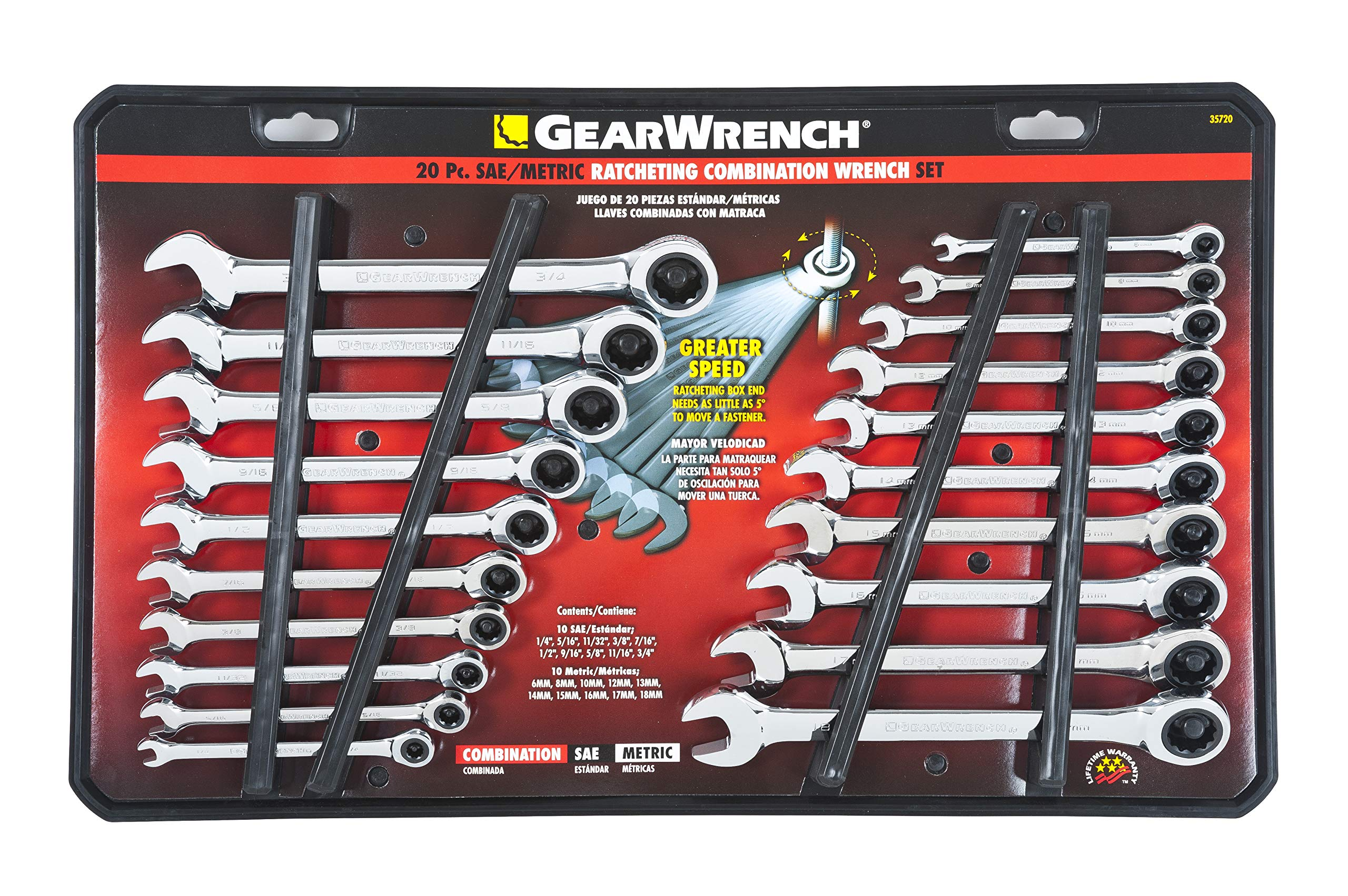 GEARWRENCH 20 Pc. Ratcheting Wrench Set, SAE/Metric - 35720 by GearWrench