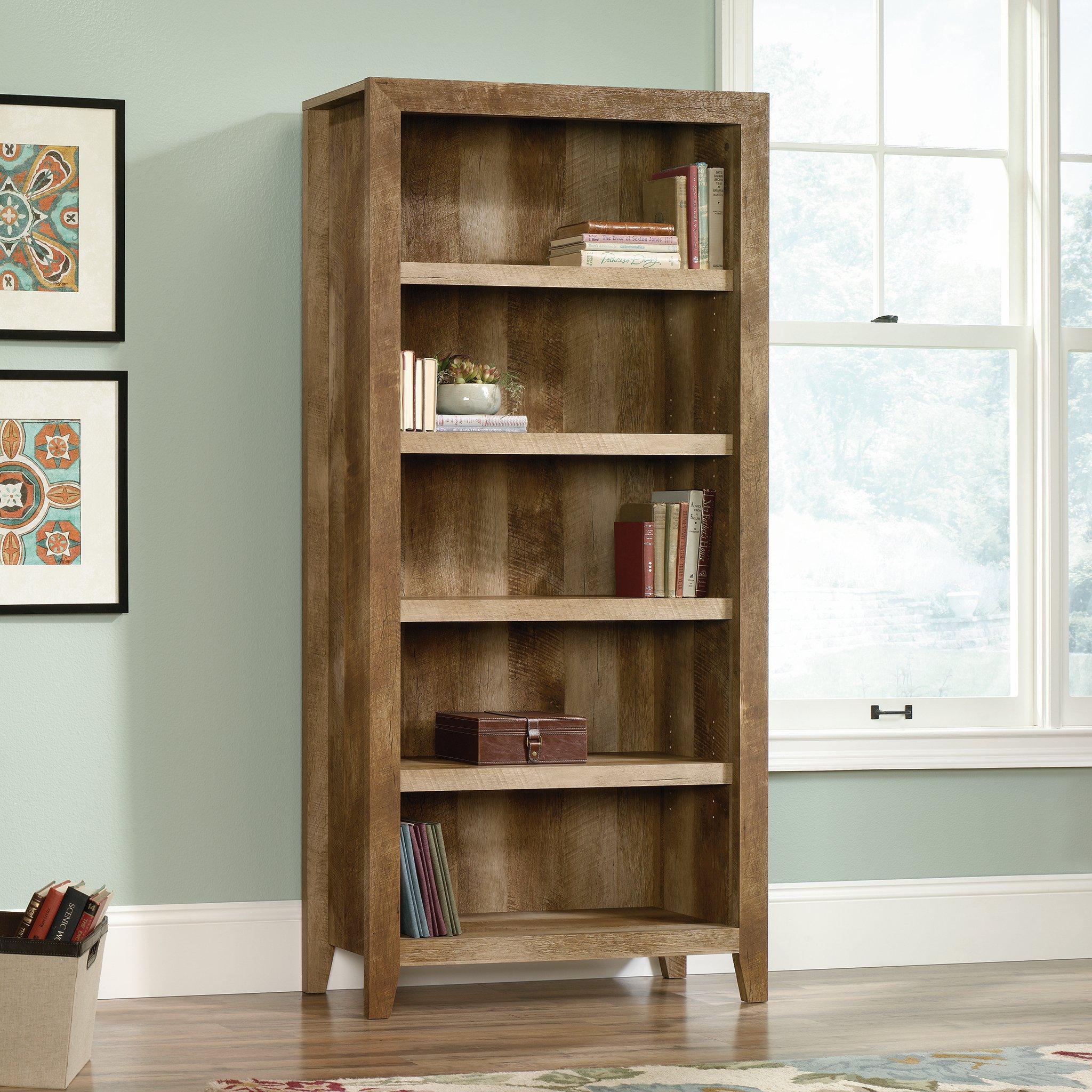 Sauder 418546 Dakota Pass 5-Shelf Bookcase, L: 33.78'' x W: 12.52'' x H: 71.1, Craftsman Oak finish by Sauder (Image #4)