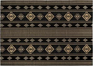 HiiARug 4'x6' Reversible Outdoor Rug, Plastic Straw Patio Rugs RV Camping Rug Reversible Mats, Large Floor Mat and Rug for RV, Patio, Backyard, Deck, Picnic, Beach, Trailer, Camping(Black)