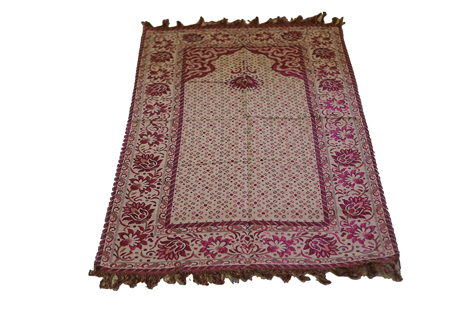 Best Quality Goblen Silk Brocades Islamic Prayer Rug Janamaz Sajjadah Muslim Namaz Seccade Turkish Prayer Rug (Pink) MKISLA