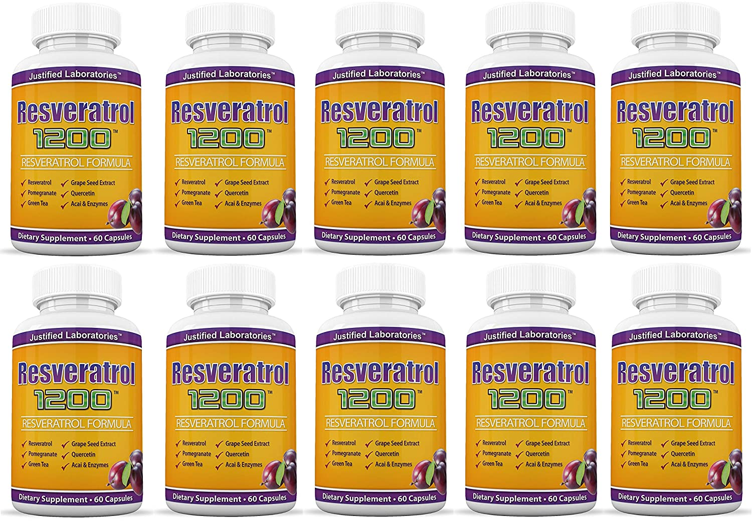 Amazon.com: Resveratrol 1200 Contains Green Tea Acai Grape Seed Extract and Other Antioxidants for Anti-Aging and Cardiovascular Health 60 Capsules Per ...