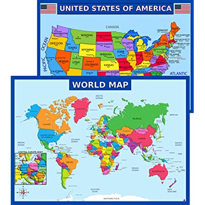 """36/"""" x 24/"""" Great for The Home or Classroom Includes The Most Legible Location Labels Bright Style Map Not Folded Shipped Rolled in a Tube Laminated World Voyager Map Poster"""