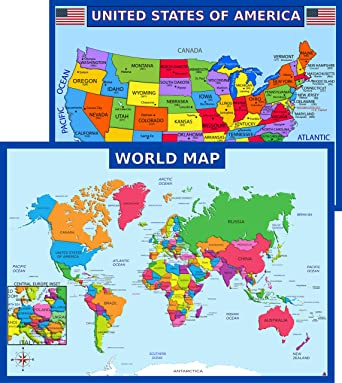 Us World Map With States Amazon.com: World Map Poster and United States USA Map Poster for
