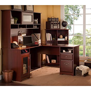 cabot l shaped desk with hutch and 6 cube bookcase