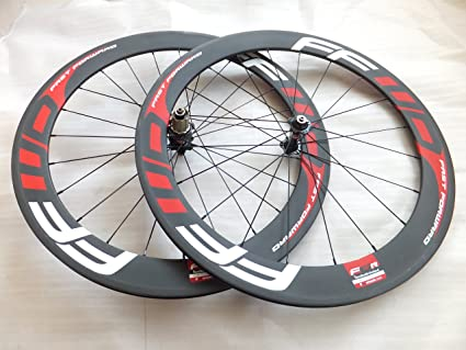 3e5ef7f0383 Image Unavailable. Image not available for. Color: 60mm F6r Clincher  Bicycle Wheels 700c Full Carbon Fiber Road Bike Racing Wheel Set ...
