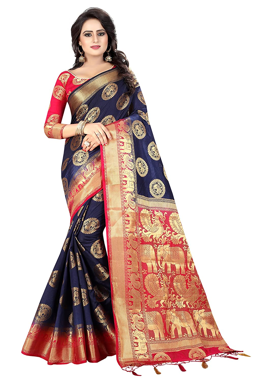 Dark Blue Kanchipuram Art Silk with Blouse Piece Saree