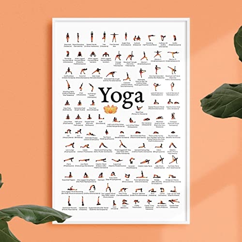Yoga Poses Poster - Asanas - Modern Exercise & Chakra Yoga Spiritual Artwork, Reiki Infographic, Energy Healing Breathing Wall Art Chart 12x16