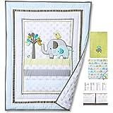Blue Elephant 4pcs set Baby Bedding Set Nursery Crib Bedding With Comforter Blanket