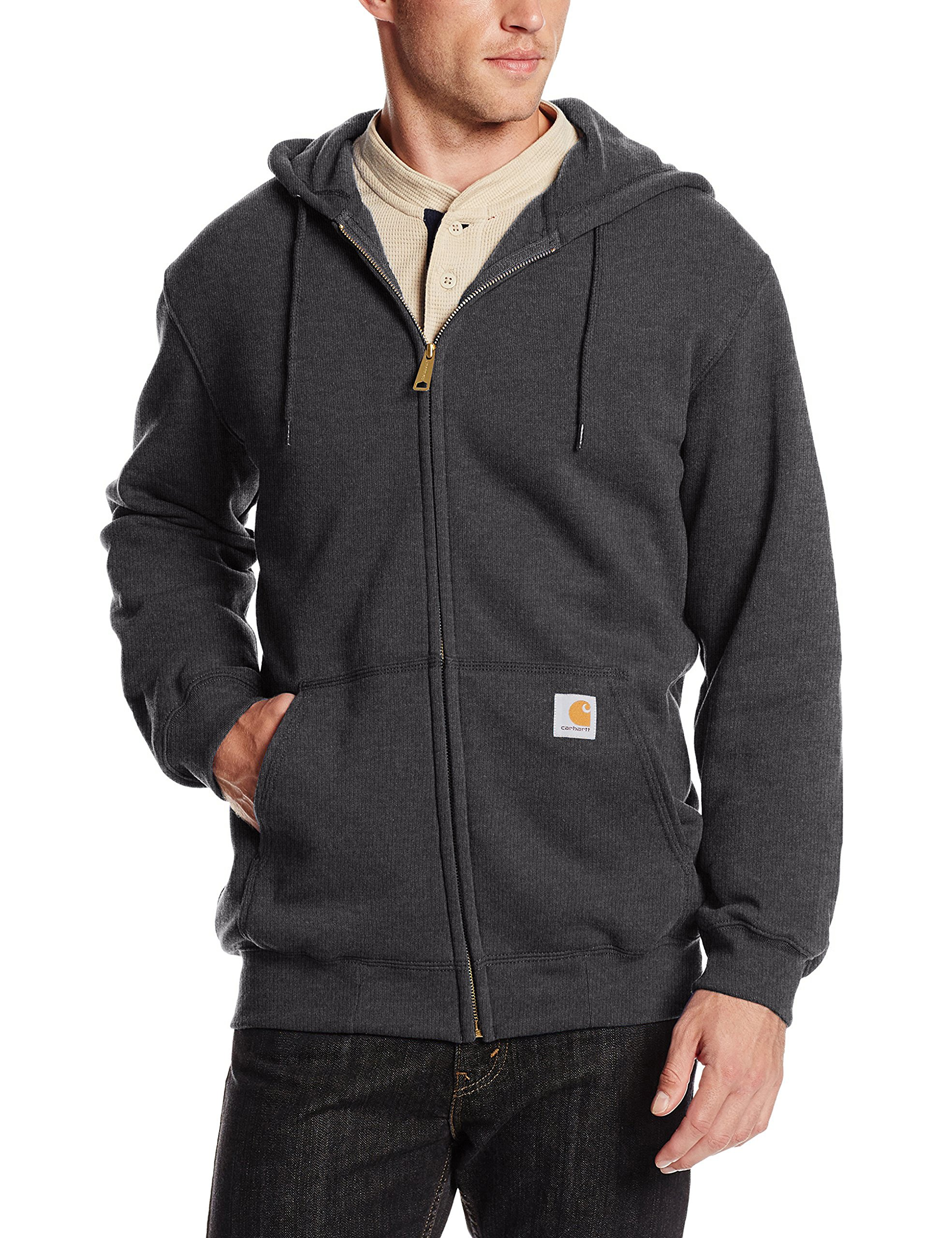 Carhartt Men's Midweight Hooded Zip-front Sweatshirt, Carbon Heather, 2X-Large by Carhartt