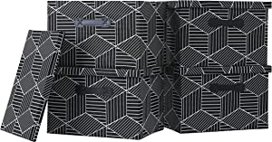 Enzk&Unity Foldable Lidded Storage Bins Cube Fabric Storage Basket with Handle Organizer Box Containers for Shelf Home Office Closet Nursery, 4 Pack, Black