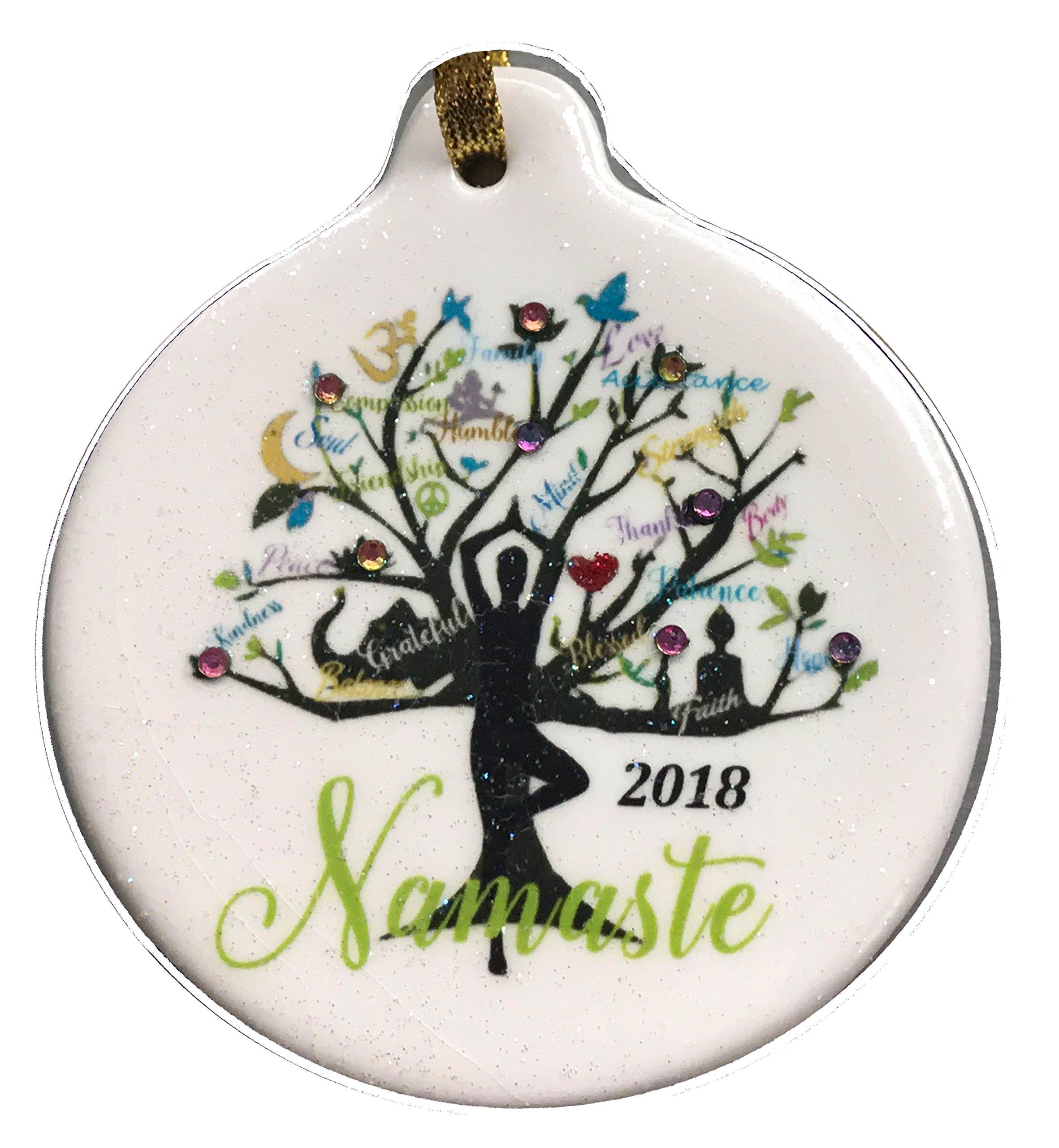 Yoga Tree Namaste 2018 Porcelain Gift Ornament Life Faith Love Peace Family Rhinestone Crystal