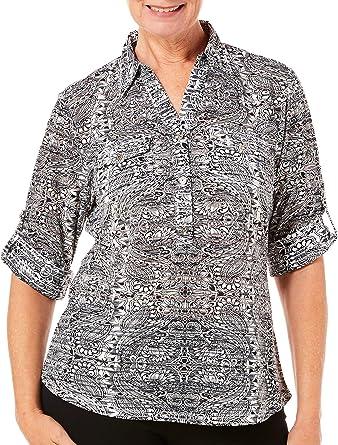 b444a7b0da91bc Cathy Daniels Womens Mixed Paisley Collared Top at Amazon Women's Clothing  store: