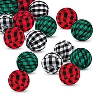 18 Pieces Christmas Plaid Ball Decors Christmas Plaid Fabric Balls Fabric Wrapped Balls Buffalo Plaid Bowl and Vase Filler Decor for Christmas Farmhouse Decorations