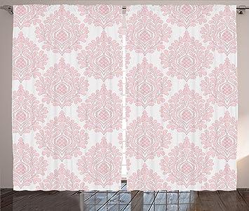Ambesonne Light Pink Curtains Damask Decor Pattern Royal Motif Baby Floral Design Victorian