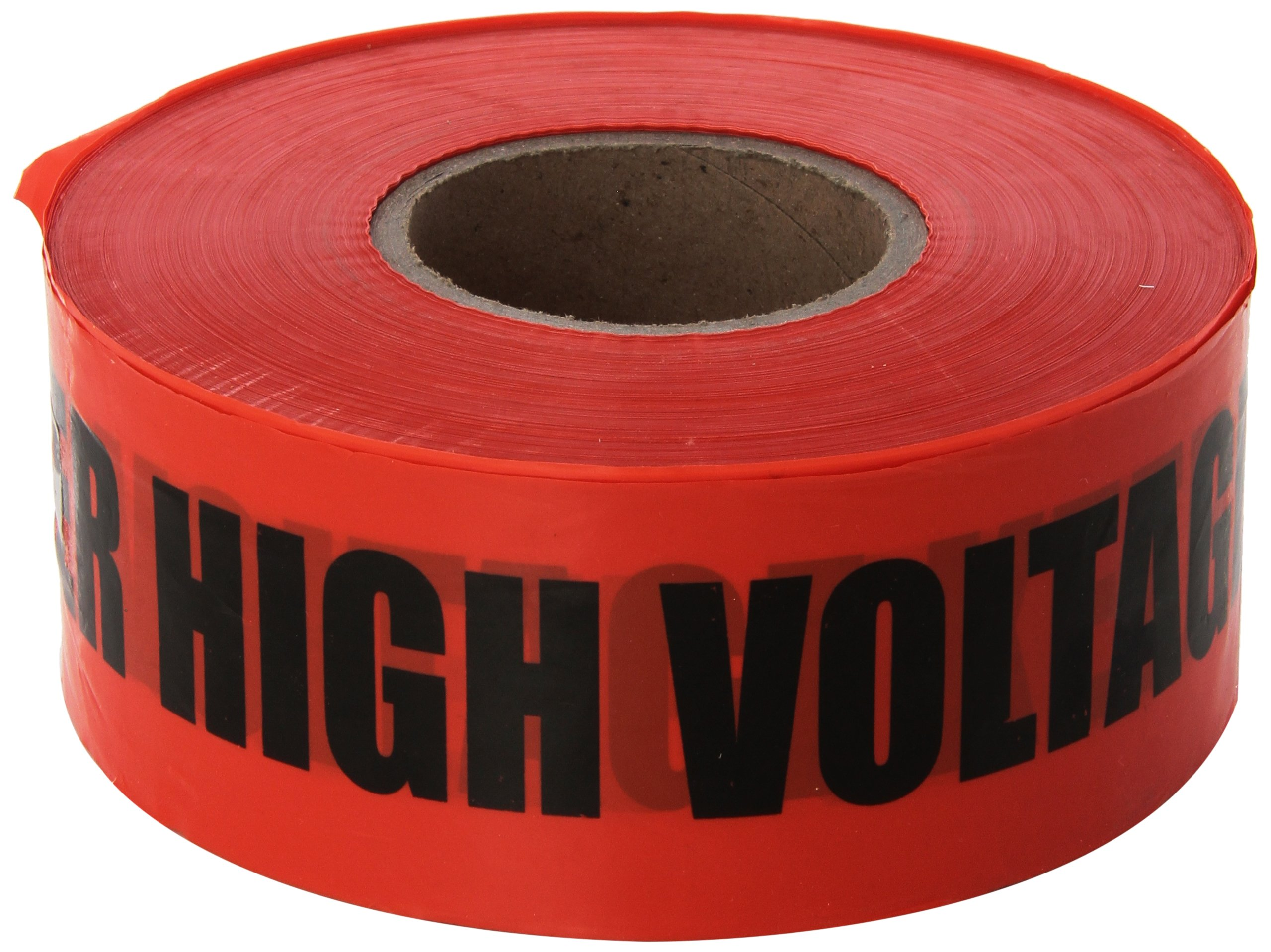 Ideal 42-052 Barricade''Danger High Voltage Keep Out'' Tape, 4.0 mil Thickness, 3'' x 1, 000' Size, Red