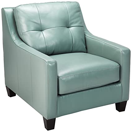 Ashley Furniture Signature Design - OKean Upholstered Leather Chair - Contemporary - Sky