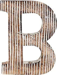 Decorative Wood Letter B | Standing and Hanging Wooden Alphabets Block for Wall Decor | Shabby Chic Wood Block Letter for Wall Table | Alphabet Letter for Home Bedroom Birthday Housewarming Party