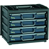 raaco 136242 HandyBox 55x4 Caisson de transport set, Noir/bleu