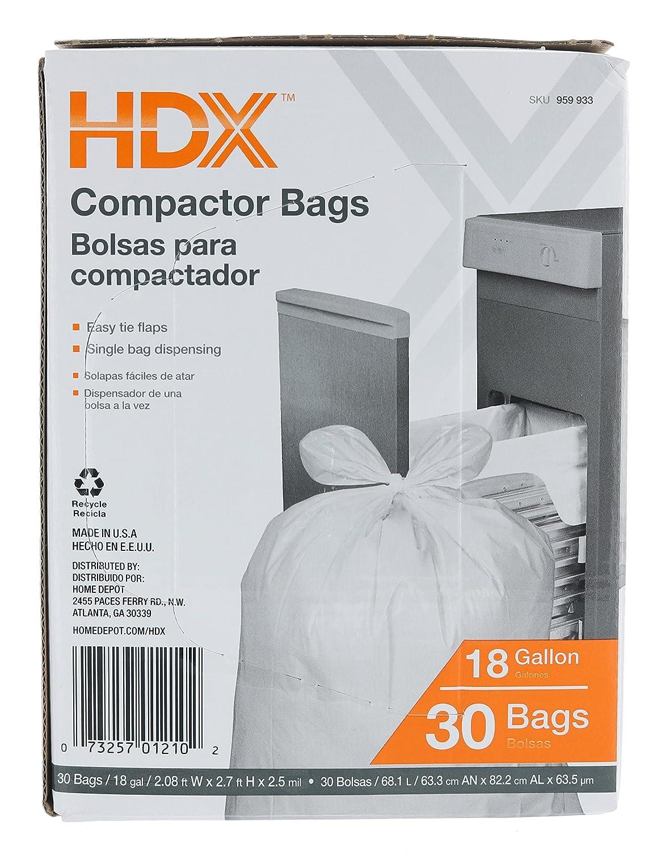 HDX 959933 18 gallon 2,5 Mil - Bolsas de basura (W/con solapas (30 unidades) (fabricadas en Estados Unidos): Amazon.es: Grandes electrodomésticos
