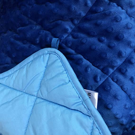 for Children 30-70 lbs Premium Kids Weighted Blanket Set for Kids 5lbs 36x48inches Blue Premium Cotton with Glass Beads