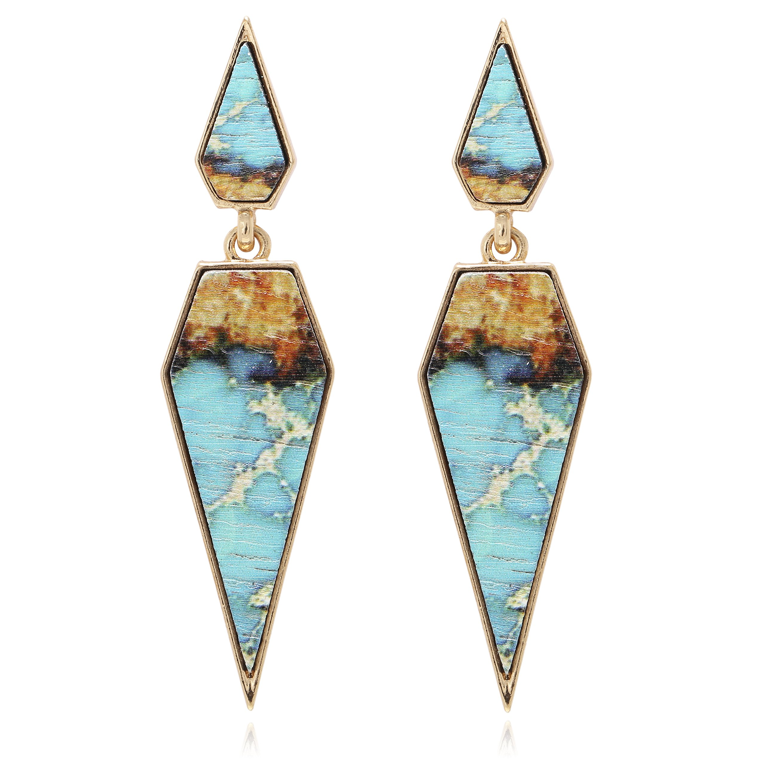 Bohemian Wood And Marble Effect Pentagon Shaped Drop Statement Earrings by BONALUNA (Image #1)
