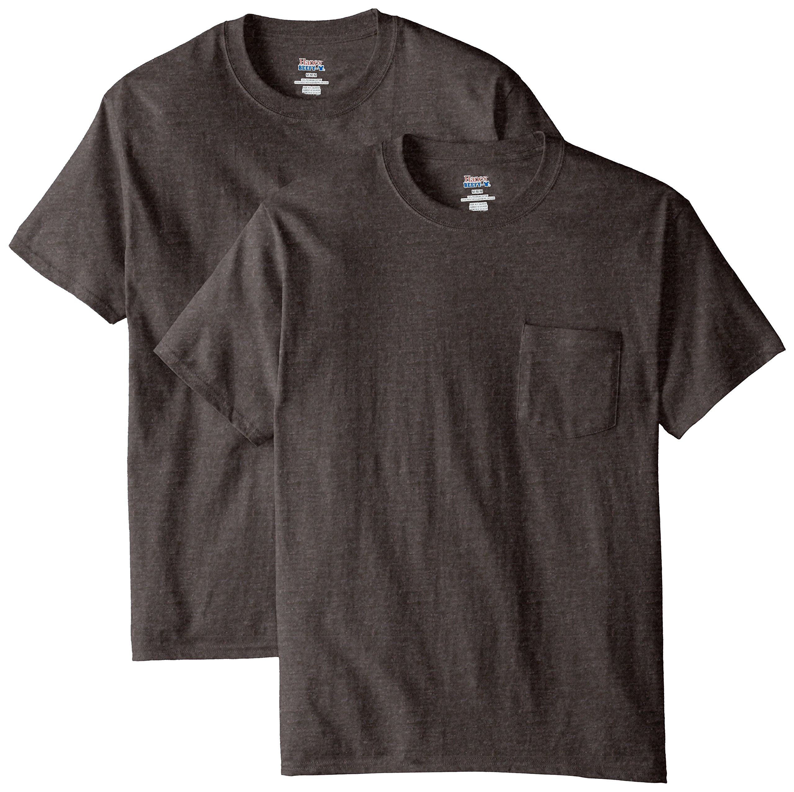 Hanes Men's 2 Pack Short Sleeve Pocket Beefy-t, Charcoal Heather, 2XL