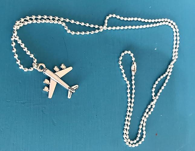 27205e679b Amazon.com: Tiny Airplane Charm Necklace - Jet Plane Jewelry: Handmade