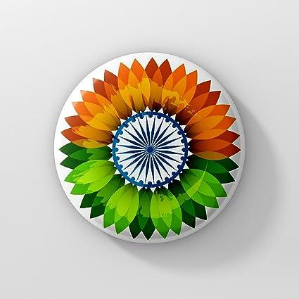 LASTWAVE Indian Flag Badge   India Flag Flower Design Independence Day Badge
