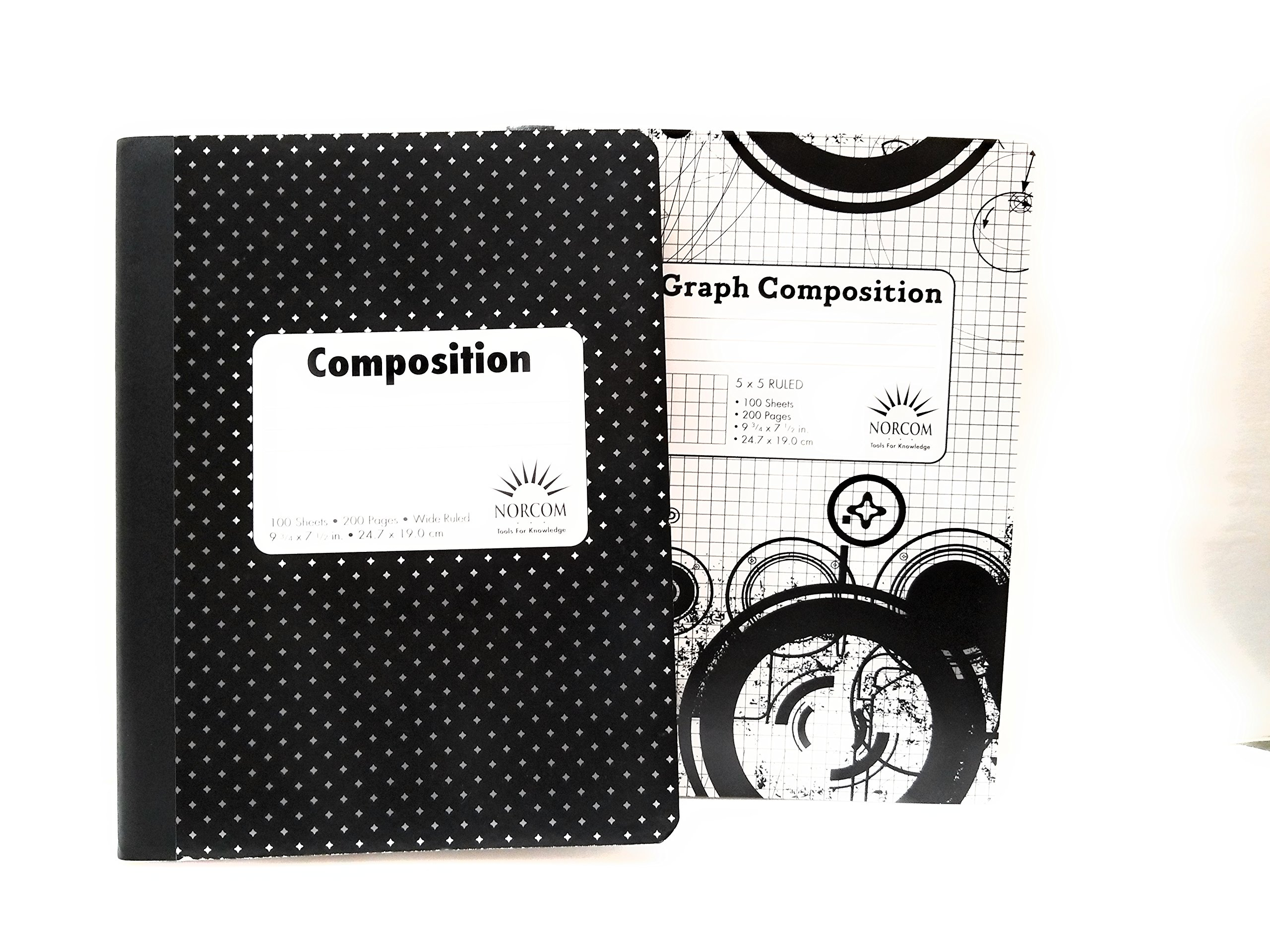 Black & White PolkaDot Composition Notebook 5 x 5 Graph Notebook - Pack of 2