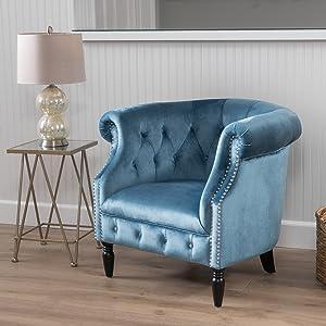 Christopher Knight Home Akira Velvet Club Chair, Aqua