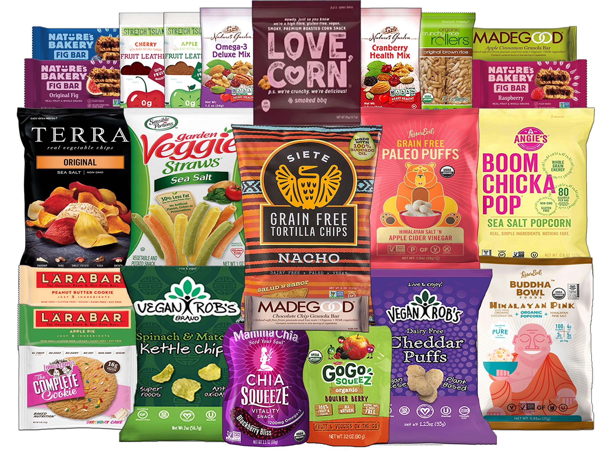 Healthy Vegan Snack Assortment Care Package - Popcorn, Chips, Puffs, Nuts, Bars, Fruit Snacks (24 Count) by Custom Treats