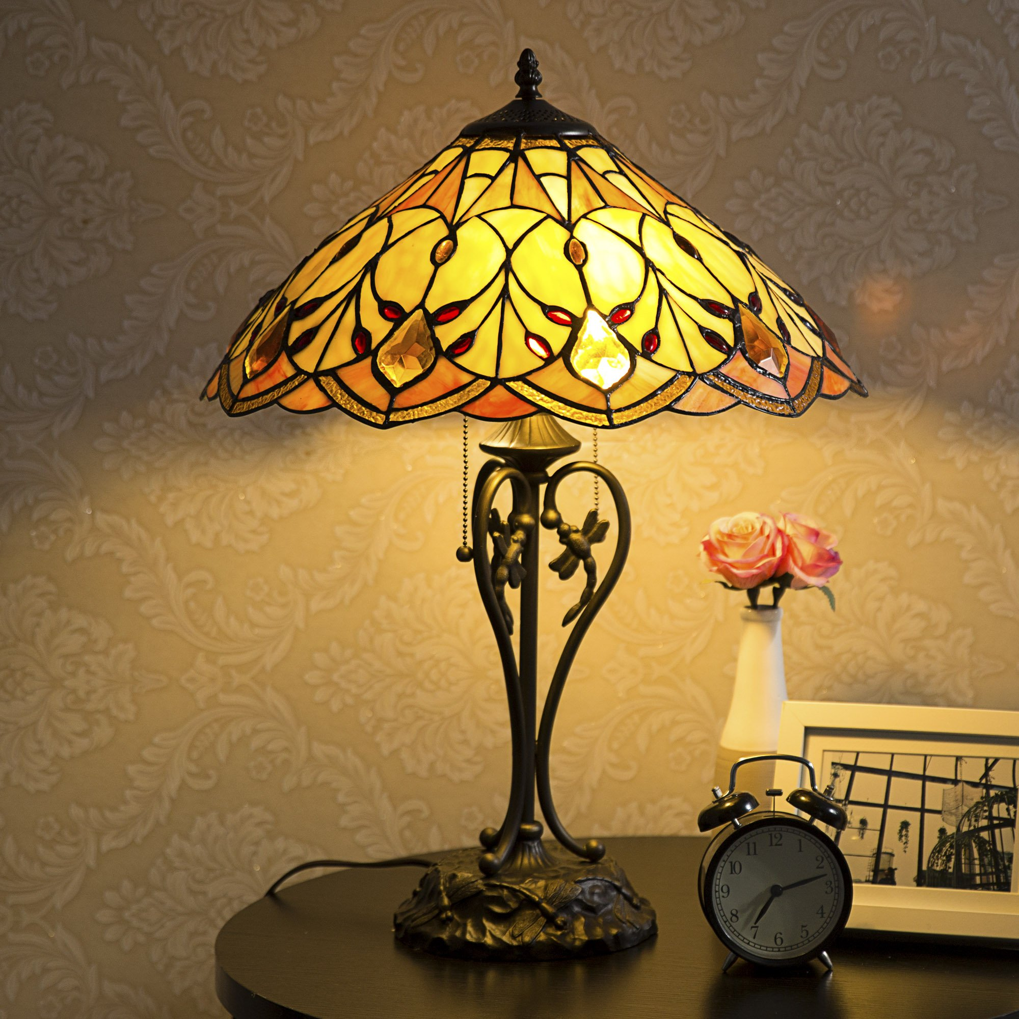 Cloud Mountain Tiffany-Style Table Lamp Victorian 2-Light with 17.5'' Shade 23'' Height by Cloud Mountain