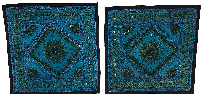 Craft Maharaja Indian Handmade Throw Cushion Cover Bohemian Patch Work Design 16 x 16 Set of 2 Covers