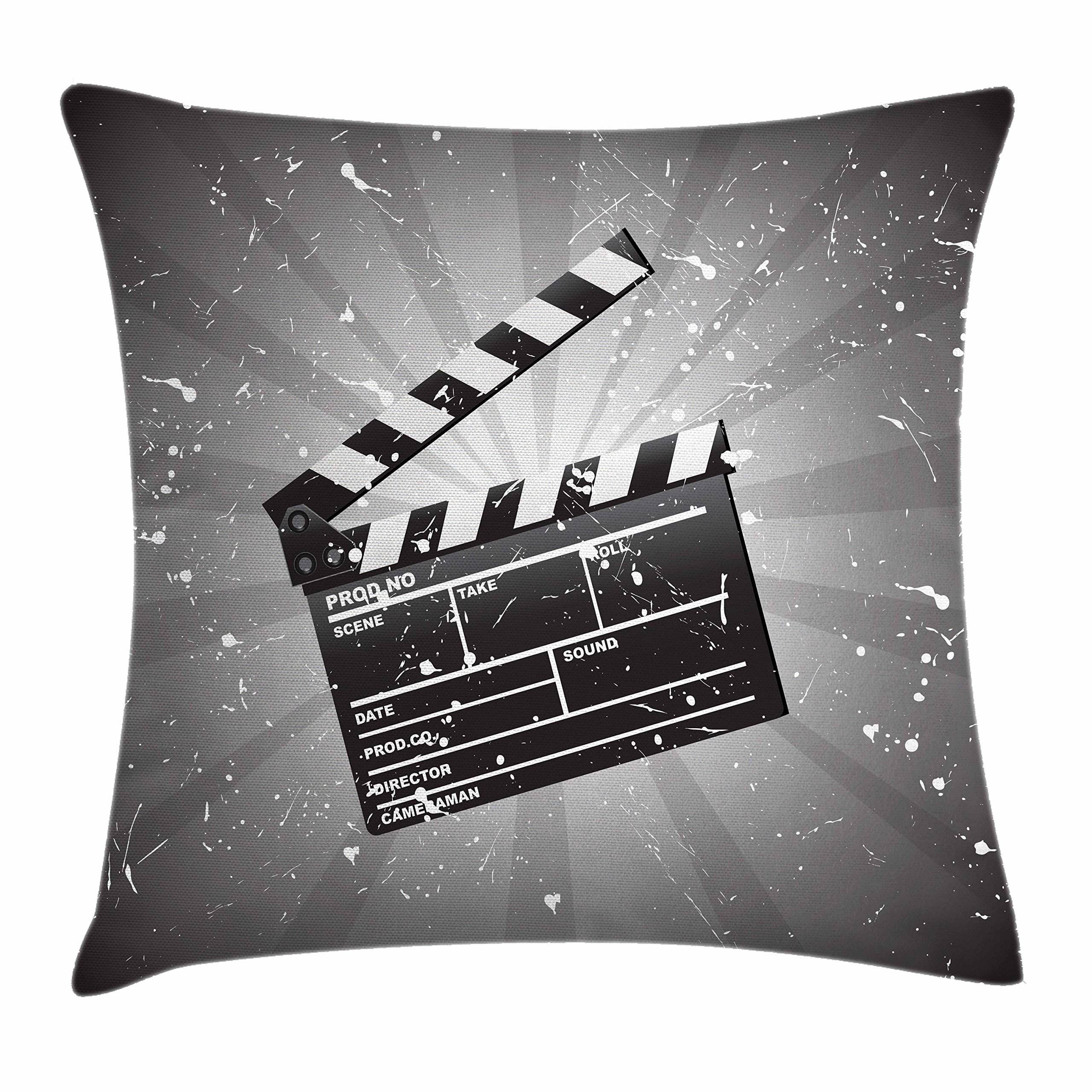 Ambesonne Movie Theater Throw Pillow Cushion Cover, Clapper Board on Retro Backdrop with Grunge Effect Director Cut Scene, Decorative Square Accent Pillow Case, 18 X 18 Inches, Grey Black White
