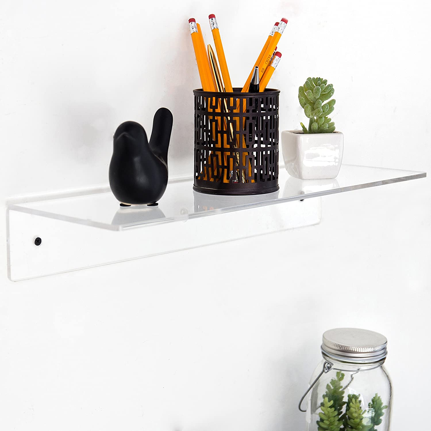 Amazoncom 17 Inch Contemporary Clear Acrylic Floating Shelf Wall Mounted