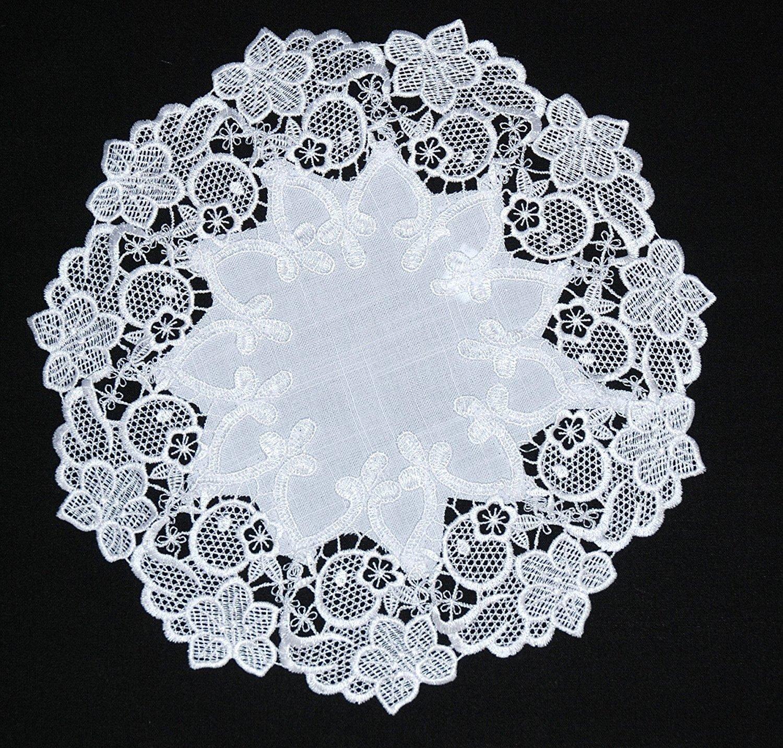 Polyester 30 cm Lovely de P/âques rond blanc en dentelle brod/ée Napperon Serviette Set de table Chemin de table de 30 40/cm D1
