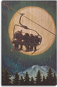 Lantern Press Ski Lift and Full Moon (10x15 Wood Wall Sign, Wall Decor Ready to Hang)
