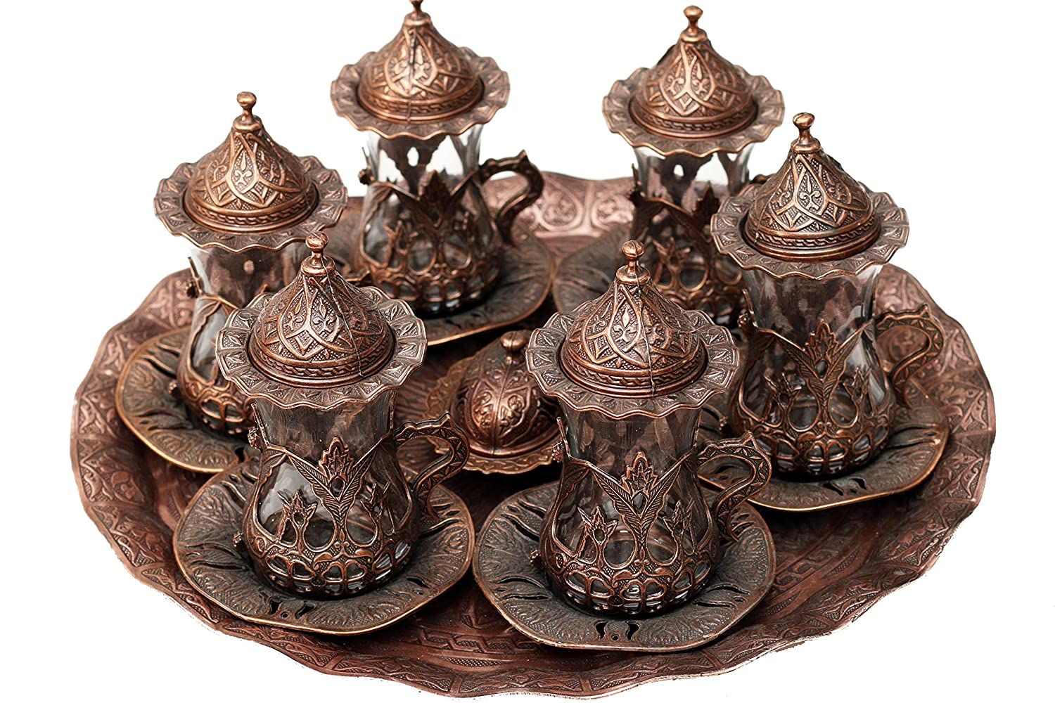 Turkish Style Tea Glasses with Holders Lids, Saucers and Tray 6 Pcs Set (bronze) Turkish Made