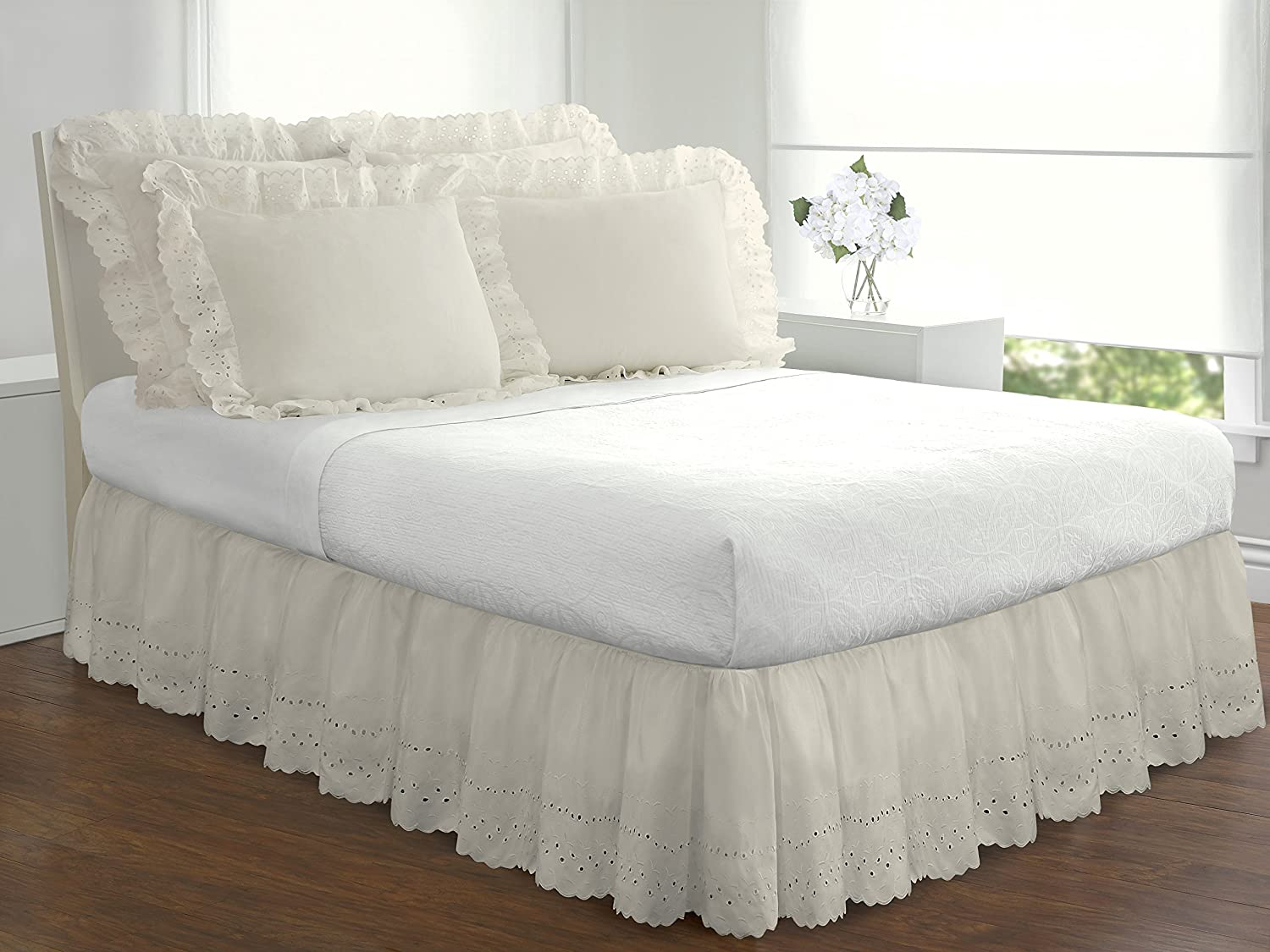 Eyelet Ruffled Bedskirt – Ruffled Bedding with Gathered Styling