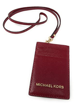 82b020c7c143 Image Unavailable. Image not available for. Color: Michael Kors Jet Set  Travel Saffiano Leather Lanyard ID Card Case Cherry