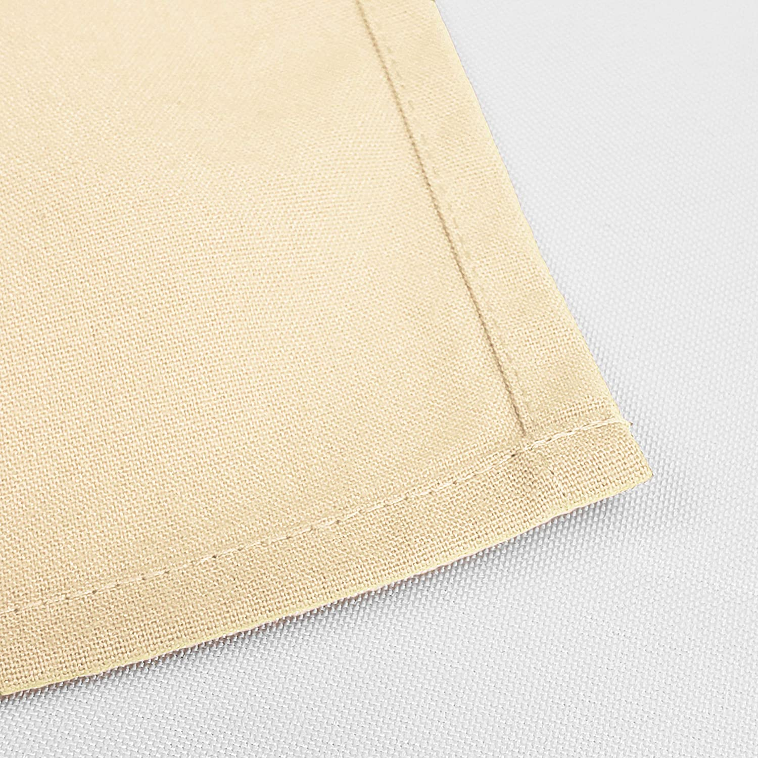 Amazon Com Tablelinensforless Hemmed Edge Restaurant Size 20 Inch Square Spun Polyester Dinner Napkins Set Of 12 Beige Home Kitchen