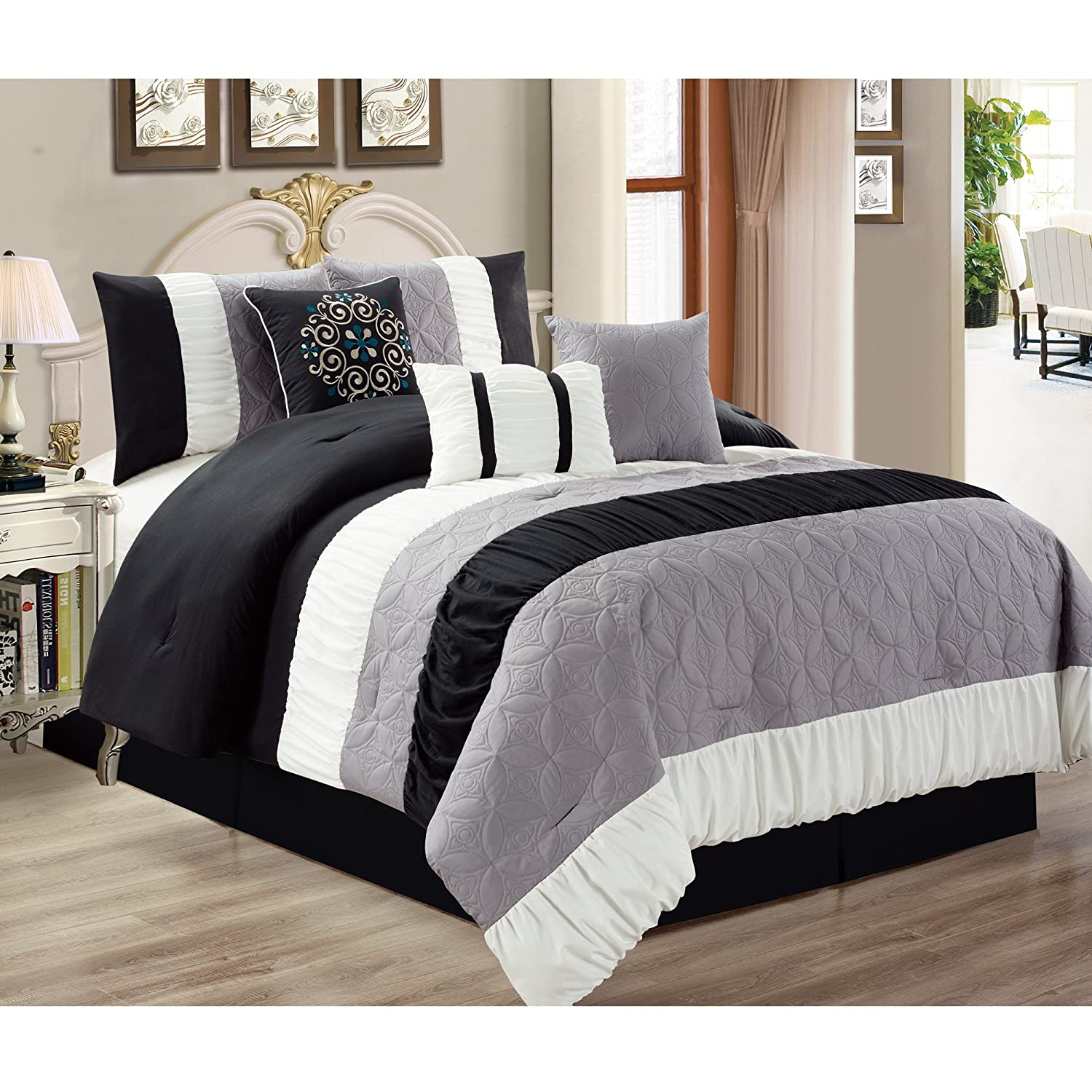 Safdie & Co. Collection Canterbury 7 Piece Comforter Set, Full/Queen 60507.7Q.15