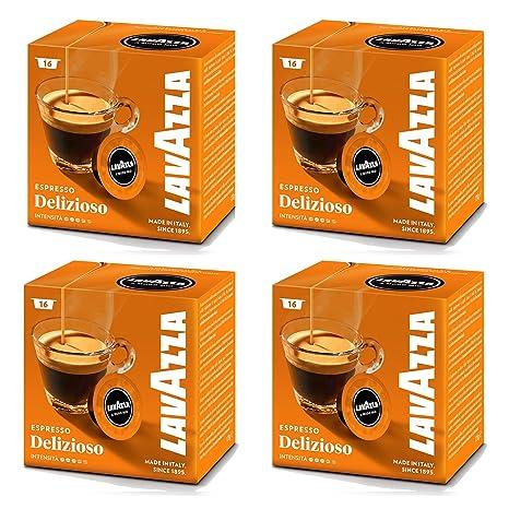 Lavazza A Modo Mio cápsulas de máquina de café Espresso Delizioso 16 (Pack de 4