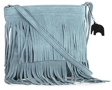 458c616ac5c LiaTalia Womens Suede Leather Tassle Fringe Shoulder Bag (Small Size) -  Ashley  Baby