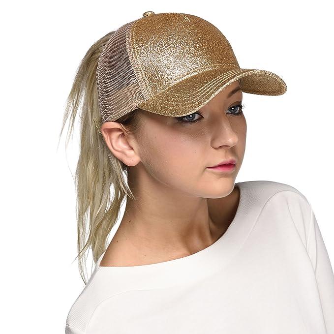 b156999704d93 C.C Ponytail caps Messy Buns Trucker Plain Baseball Cap (BT-6) (Glitter-Gold)  at Amazon Women s Clothing store