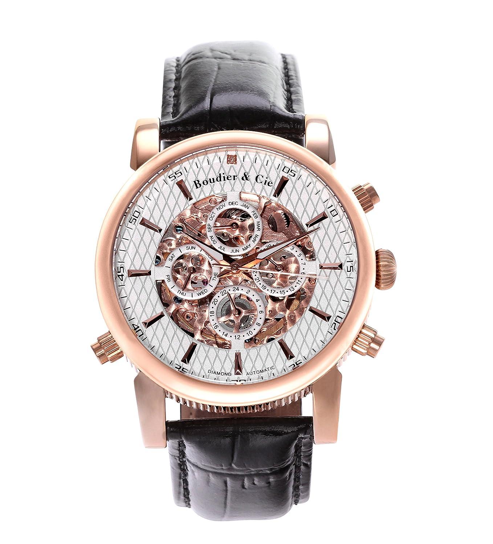 Automatik Armbanduhr von Boudier & Cie fÜr MÄnner mit einem echten Diamanten mit Weißem Zifferblatt Analoger Anzeige